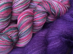 "Iona in ""Princess"" colorway and Isle of Skye in ""purple"""