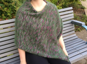 "Folded Poncho in ""Isle of Skye"" and ""Iona"" combined"