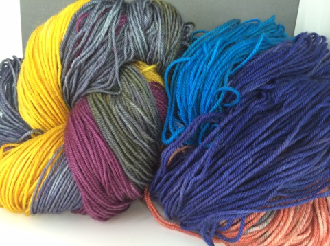 "Whidbey hand painted colorways ""Calypso on the Beach"" and ""Suspense"""