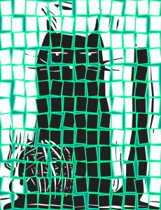 tiled cat blue green
